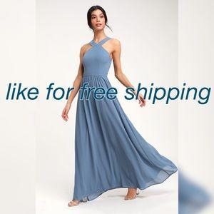 lulu's air of romance maxi dress medium slate blue